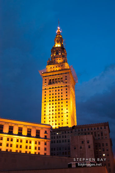 Terminal tower at night. Cleveland, Ohio, USA