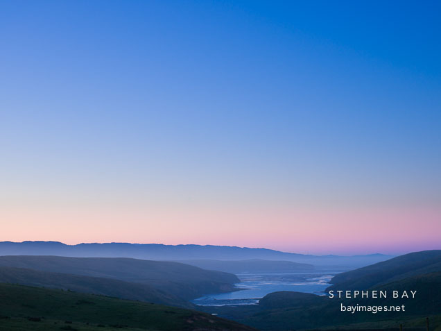 Dawn sky over Drake's estero. Point Reyes, California.