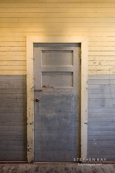 Old door in the detention barracks. Angel Island, California.