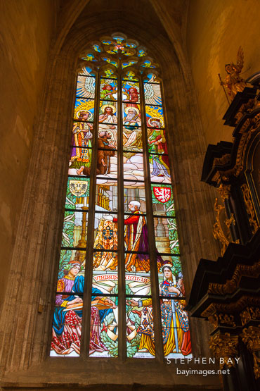 Stained glass window in Saint Barbara Cathedral depicting the visit of Emperor Franz Joseph II. Kutna Hora, Czech Republic.