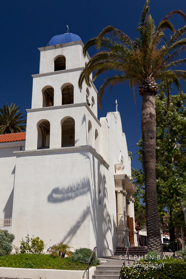 Bell tower of the Catholic church of the Immaculate Conception. Old Town, San Diego.