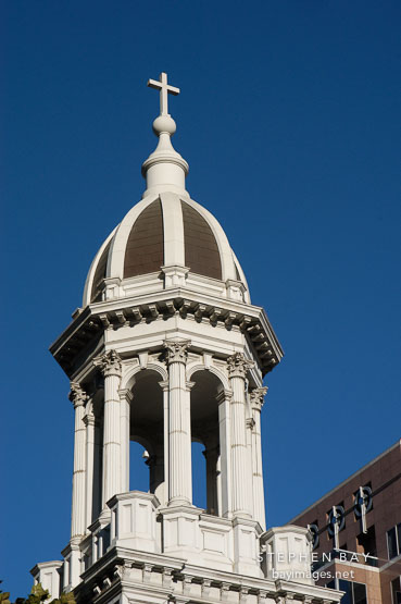 Bell tower cupola. Cathedral Basilica of St. Joseph. San Jose, California, USA.