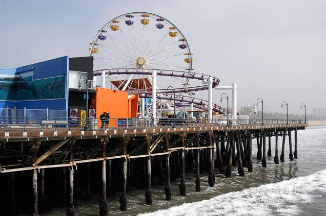 Ferris wheel at Santa Monica Pier. Santa Monica, California, USA.
