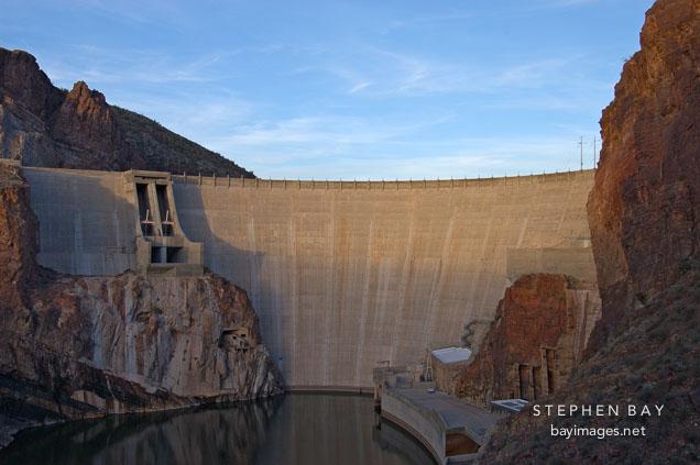 Theodore Roosevelt Dam at sunset. Apache Trail, Arizona, USA.
