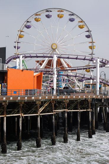 Ferris wheel at Santa Monica Pier on an overcast day. Santa Monica, California, USA.
