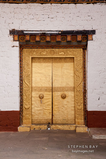 Photo: Golden doors in the second courtyard of Punakha ...