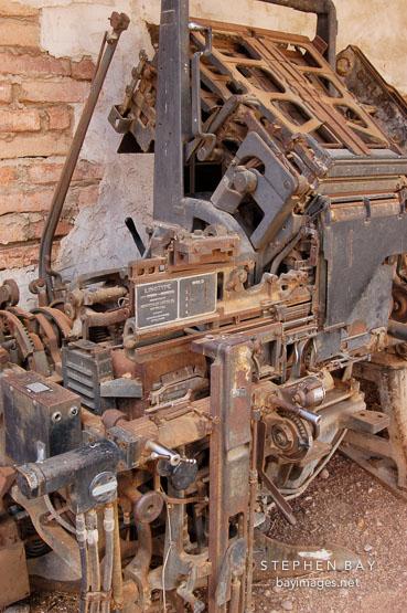 Linotype printing press. Goldfield, Phoenix, Arizona, USA.