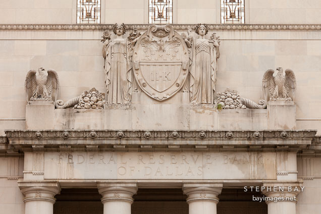 Architectural detail of the Federal Reserve Bank of Dallas.