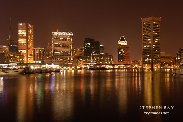 Inner Harbor at night. Baltimore, Maryland, USA.
