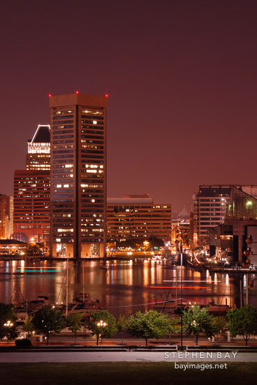 Inner harbor and World Trade Center. Baltimore, Maryland, USA.