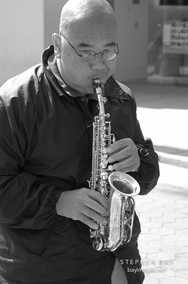 Saxophone player. Santa Monica, California.