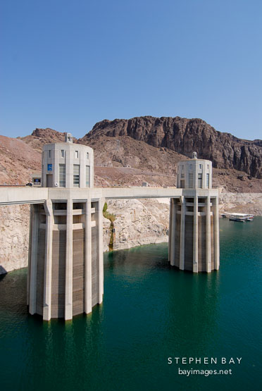Lake Mead and intake towers. Hoover Dam, Nevada and Arizona, USA.