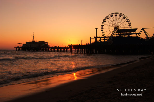 Santa Monica pier at sunset. Santa Monica, California, USA.