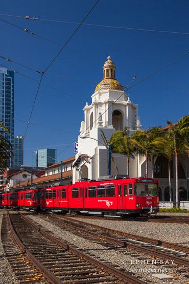 Trolley and Santa Fe Depot. San Diego.