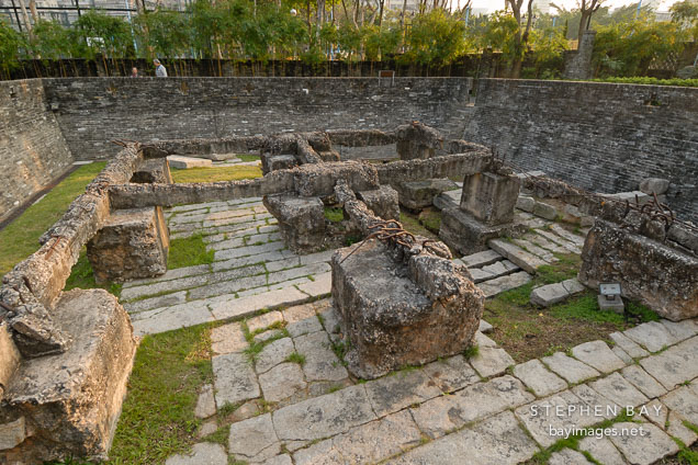 Remnants of the South Gate. Kowloon walled city park. Hong Kong.