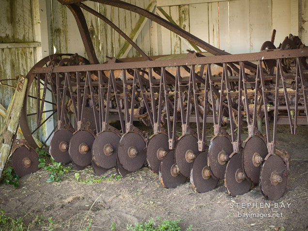 Antique disc cultivator at Pierce Ranch. Point Reyes National Seashore, California.