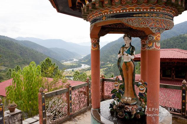Sculpture of goddess in a pavilion at Khamsum Yuelley Namgyal Chorten. Punakha Valley, Bhutan.