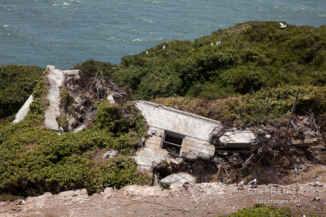Rubble piles on Alcatraz Island.