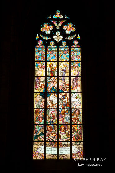 Stained glass in Saint Barabara's church. Kutna Hora, Czech Republic.