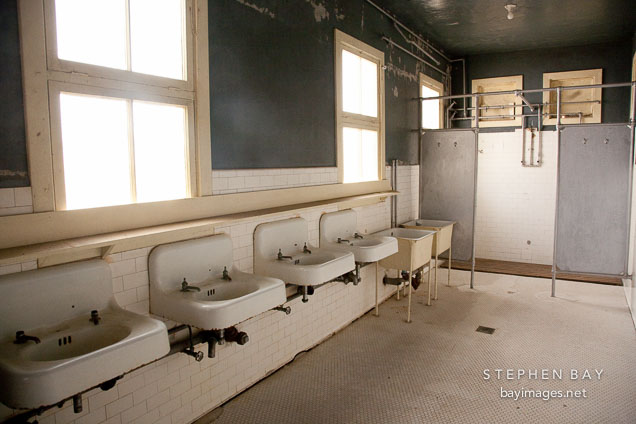 Bathroom sinks in the detection barracks. Angel Island, California.