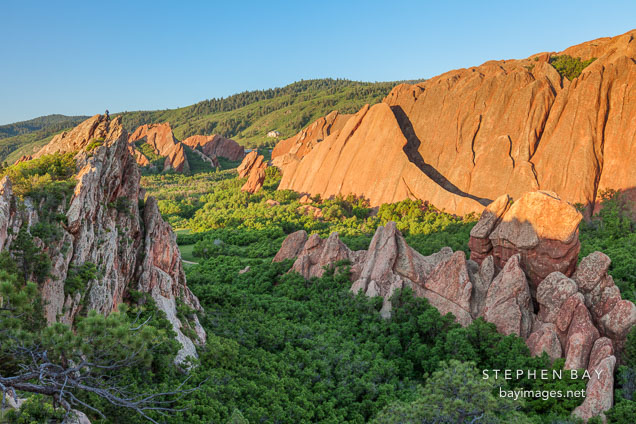 Dramatic red sandstone formations at Roxborough State Park, Colorado.