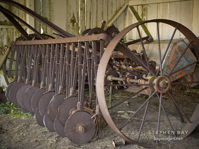Rusted disc cultivator at Pierce Ranch. Point Reyes National Seashore, California.