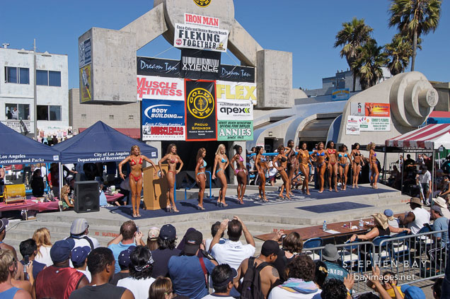 Female bodybuilders. Muscle beach, Venice, California, USA.