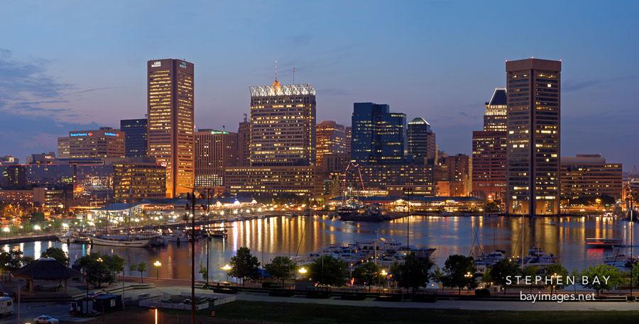 Baltimore's Skyline at night. Baltimore, Maryland, USA.