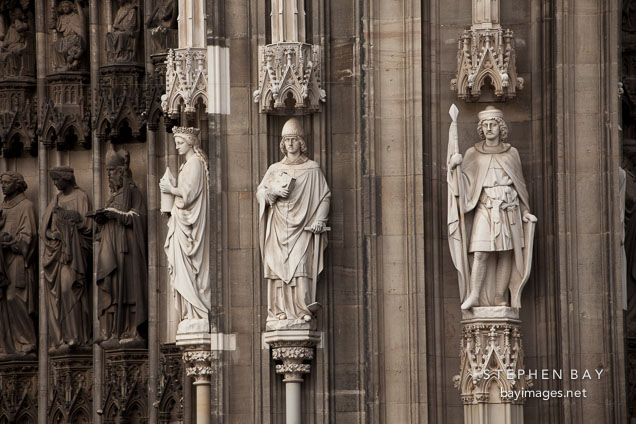 Statues on the Western Facade of the Cologne Cathedral. Cologne, Germany.
