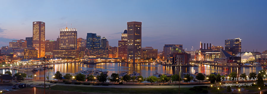 Panorama of the Inner Harbor. Baltimore, Maryland, USA.