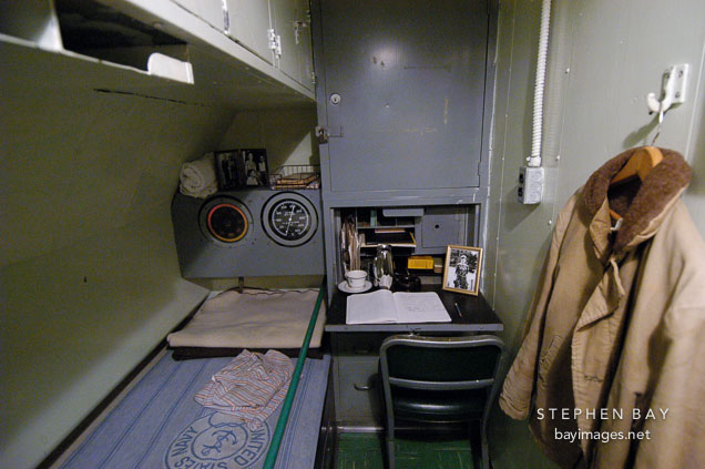 Captain's quarters. USS COD SS-224 World War II Fleet Submarine. Cleveland, Ohio, USA.