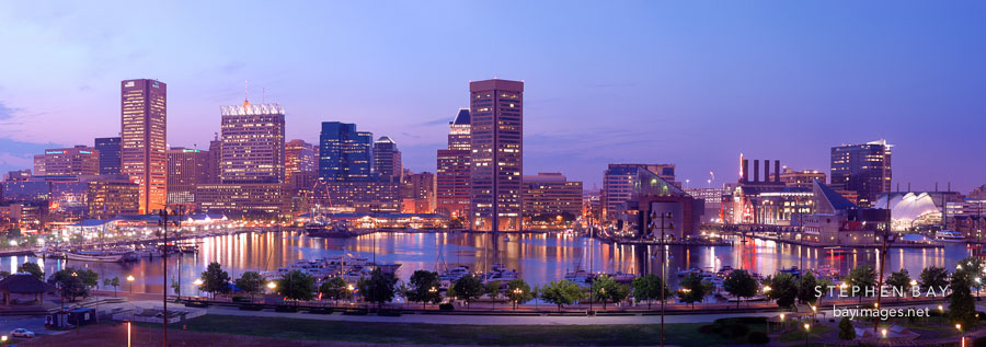 Inner harbor and skyline. Baltimore, Maryland, USA.