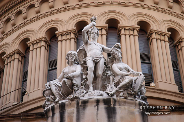Statues on the Queen Victoria Building. Sydney, Australia