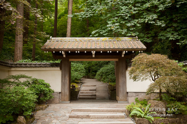 Antique Gate. Portland Japanese Garden, Oregon. Part 25