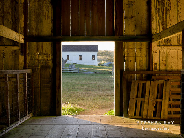 Doorway of the hay barn at Pierce Point Ranch, California.