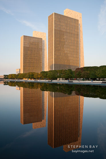 Sunrise at Empire State Plaza. Albany, New York.