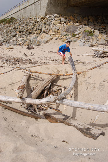 Child playing with driftwood at Pescadero state beach, California, USA.