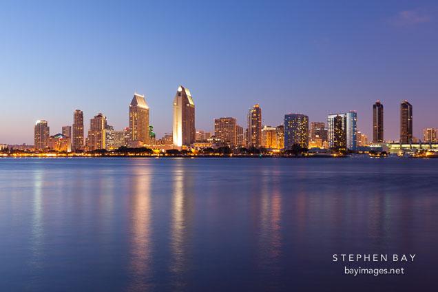 San Diego waterfront at night.