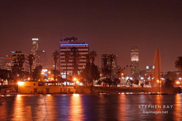 MacArthur Park at night. Los Angeles, California, USA.