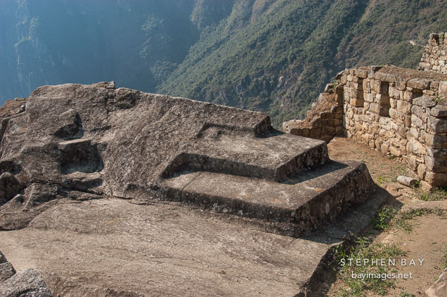 Photo carved stone altar machu picchu peru