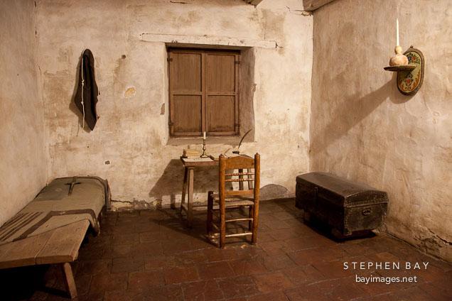 Junipero Serra's cell. Carmel Mission, California.