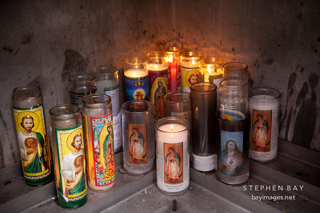 Devotional candles at the Cathedral of the Virgin of Guadalupe. Dallas, Texas.
