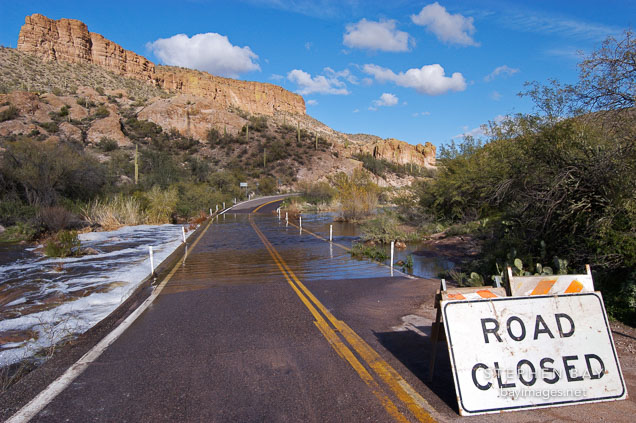 Road closure because of flooding. Tortilla Flat. Arizona, USA