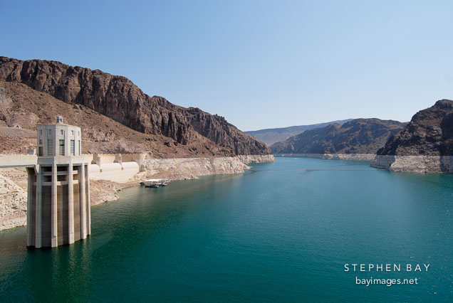 Intake tower and Lake Mead reservoir. Hoover Dam, Nevada and Arizona, USA.
