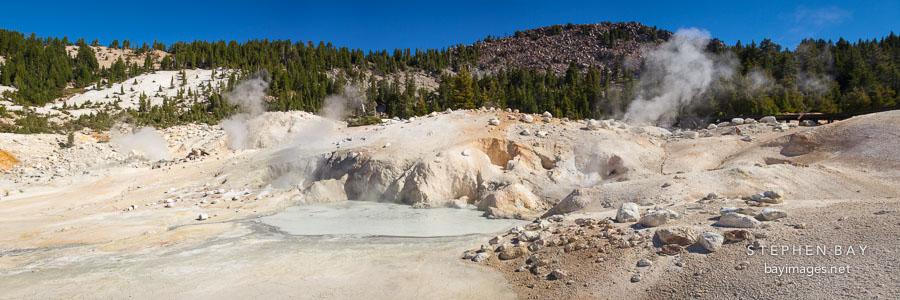 Panorama of Bumpass Hell mud pools. Lassen Volcanic National Park, California.