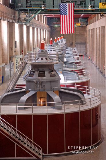 Electric power generators. Hoover Dam, Nevada and Arizona, USA.
