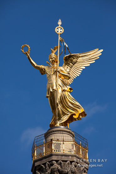 Statue of Victoria atop Siegessaule. Berlin, Germany