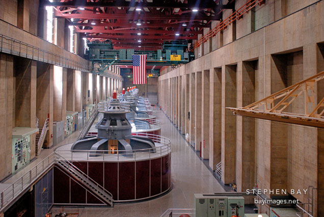 Generator room on the Nevada side. Hoover Dam, Nevada and Arizona, USA.