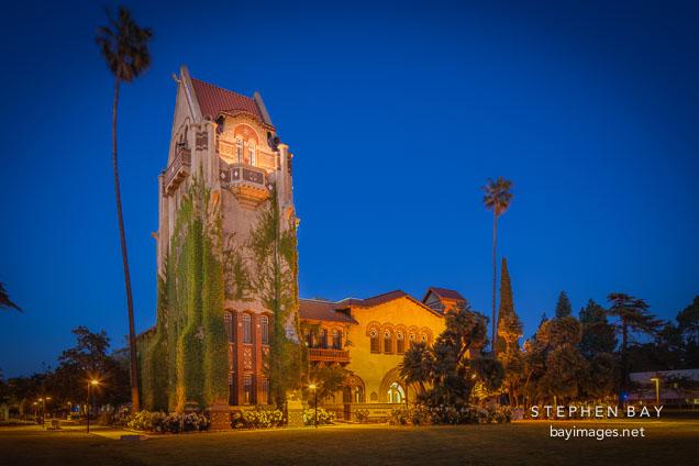 Tower Hall at night. San Jose State University, California.