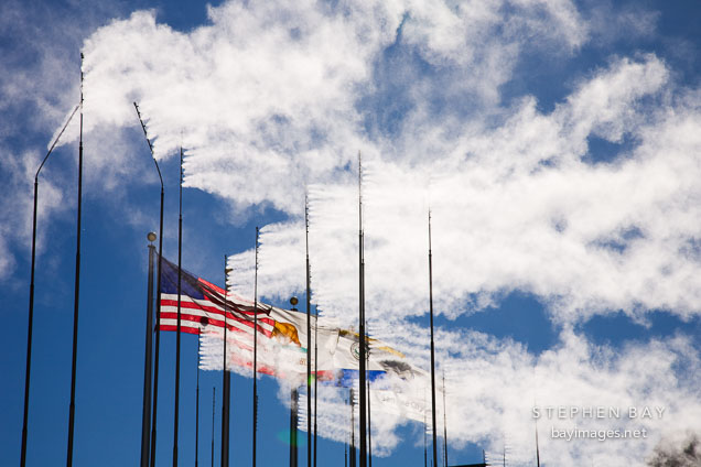 American flag admist the vanes in Waterscape. San Jose, California.